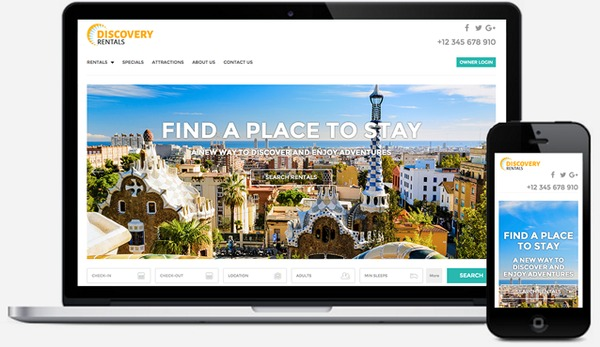 Example of a vacation rental website template