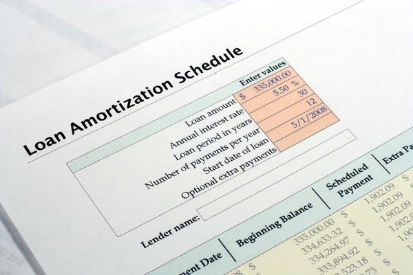 Loan amortization schedule document.