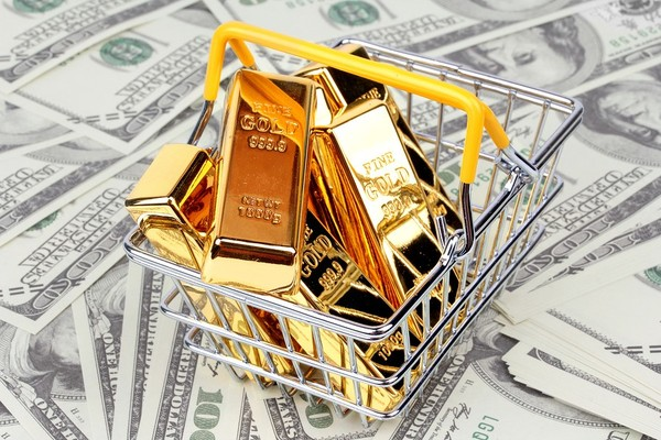 Gold bars in a wire basket.