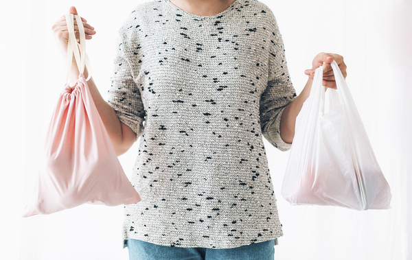 Person holding two shopping bags.