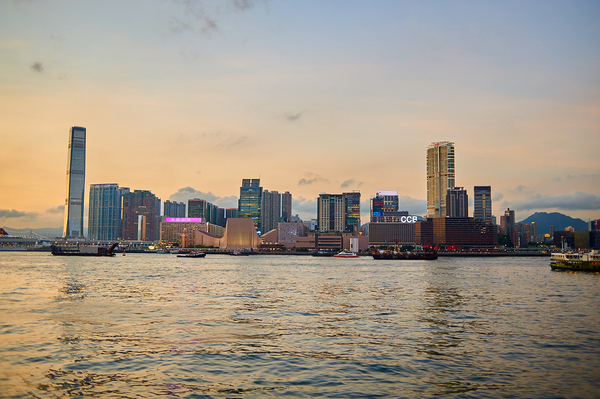View of Hong Kong skyline on Kowloon Peninsula from water