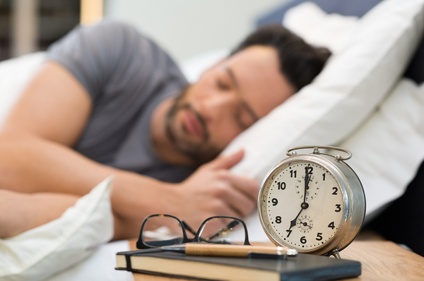 For Video Ads, the Time of Day Matters with Man sleeping and alarm clock