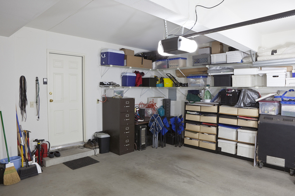Cluttered garage interior