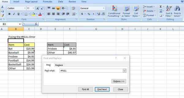Find and replace box in excel.