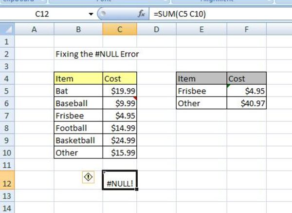 Sum example in excel.