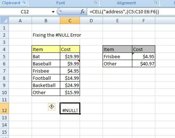 Cell example in excel.