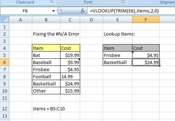 Vlookup example.