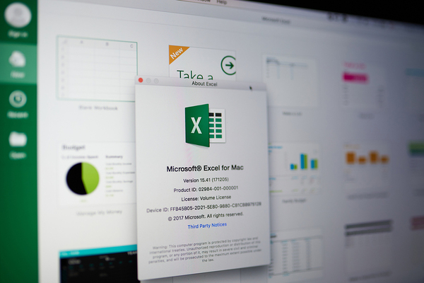 Screen showing excel info popup.