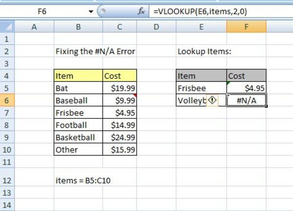 Vlookup example in excel.