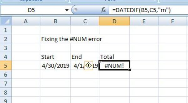 Datedif example in excel.