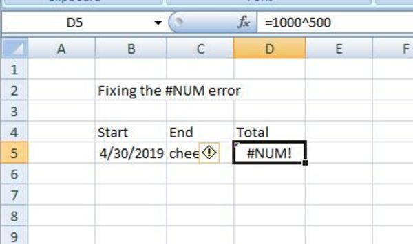 Excel example Fixing the #NUM error.