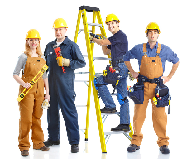 Home improvement contractors with yellow hardhats, step ladder and tools