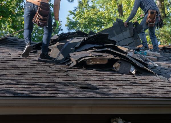 Damaged roof.