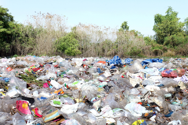 Landfill filled with plastic and other trash.
