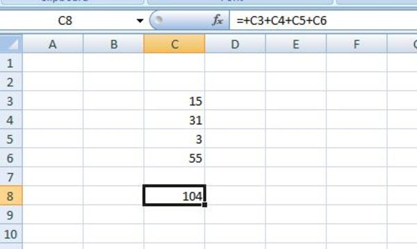 Excel sheet listing numbers with a sum.
