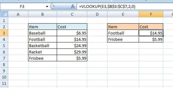 Lookup function matching an item in excel.
