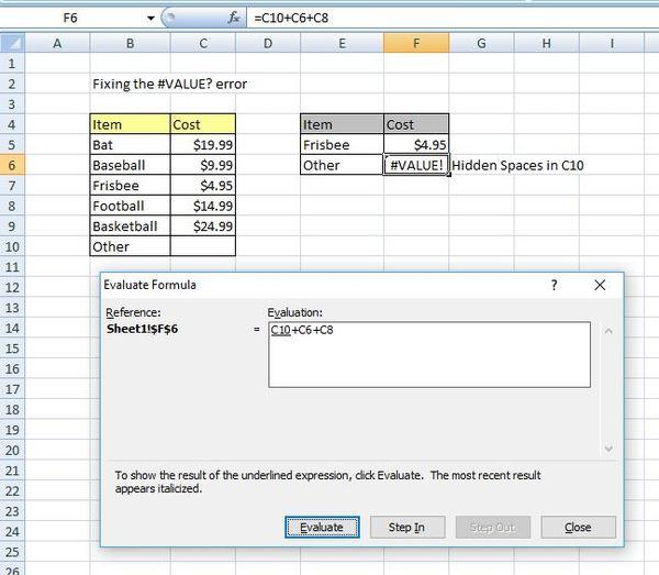 Evaluate formula box in excel.