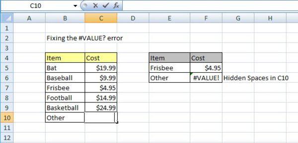 Fixing the #Value? error screen shot.