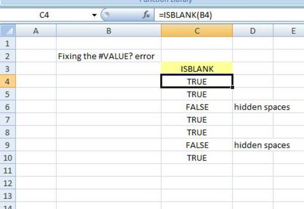 ISBLANK formula screen shot.