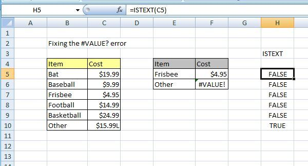 ISTEXT function in excel.