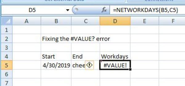 NETWORKDAYS screen shot.