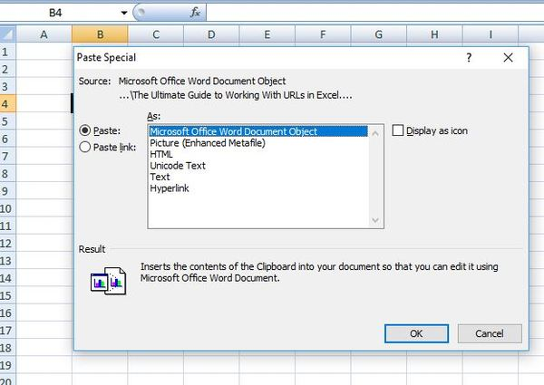 Past special box in excel.