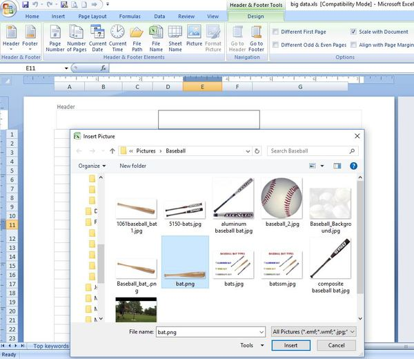Insert picture box in excel.