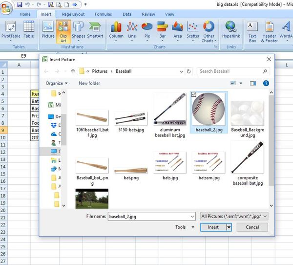 Excel screen shot of insert clip art box.
