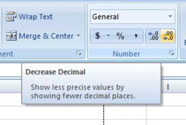 Decrease decimal box in excel.
