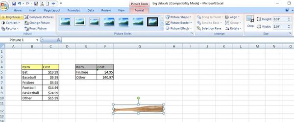 Format picture menu screen shot in excel.