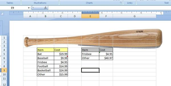 Excel sheet with data and image of a large baseball bat.