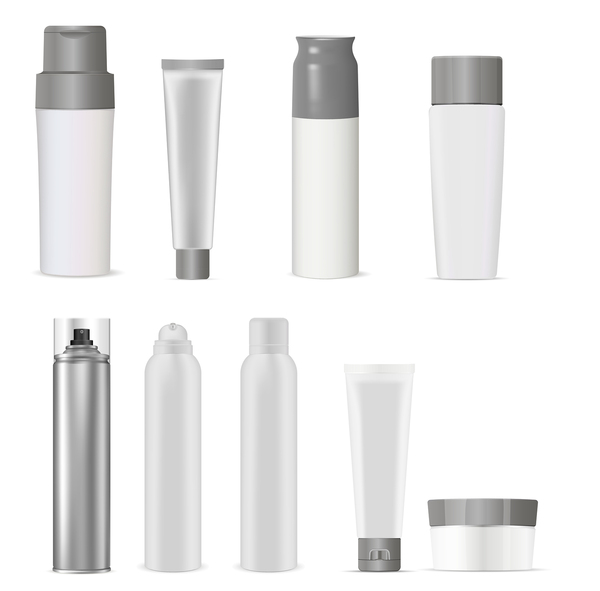 White containers for beauty products.