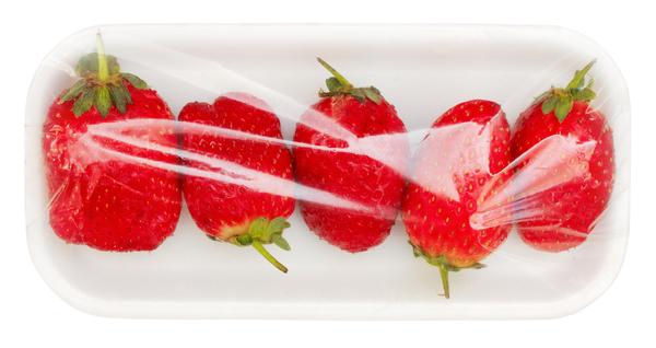 Packaged strawberries.