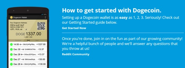 How to get started with Dogecoin screen.