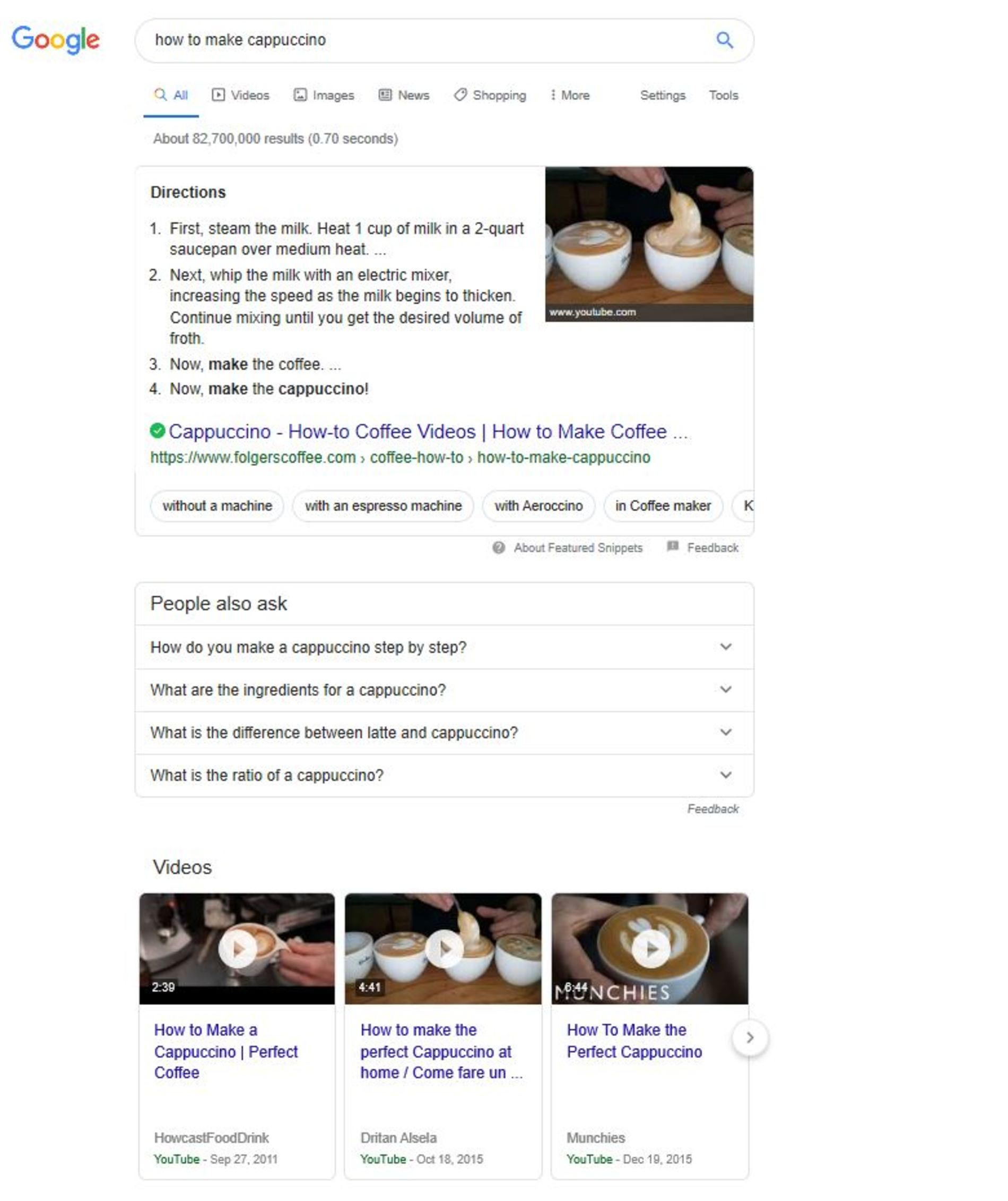 "Google search results for ""how to make cappuccino"""