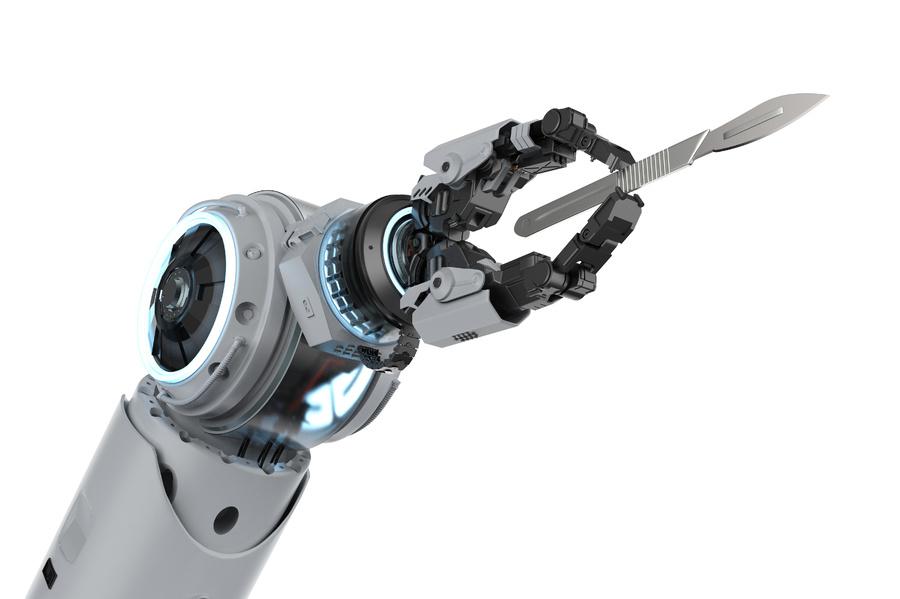 Robotic arm holding a scalpel.
