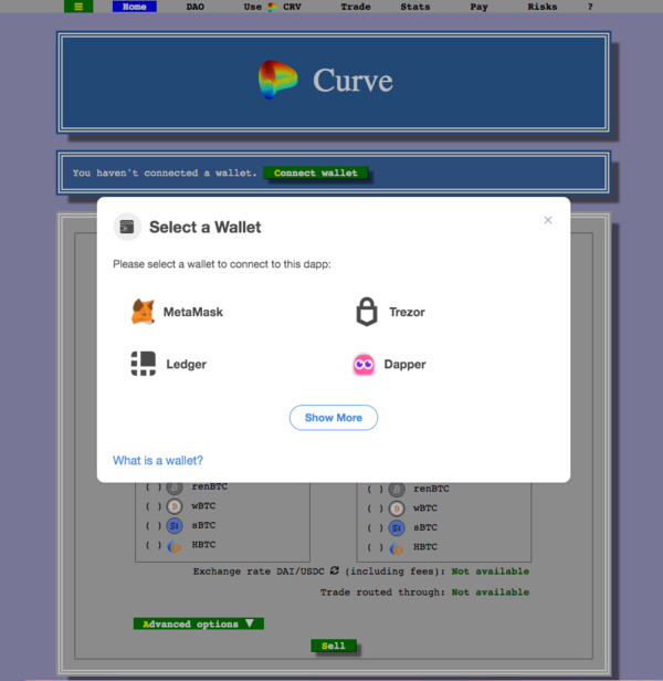 Curve select wallet screen shot.