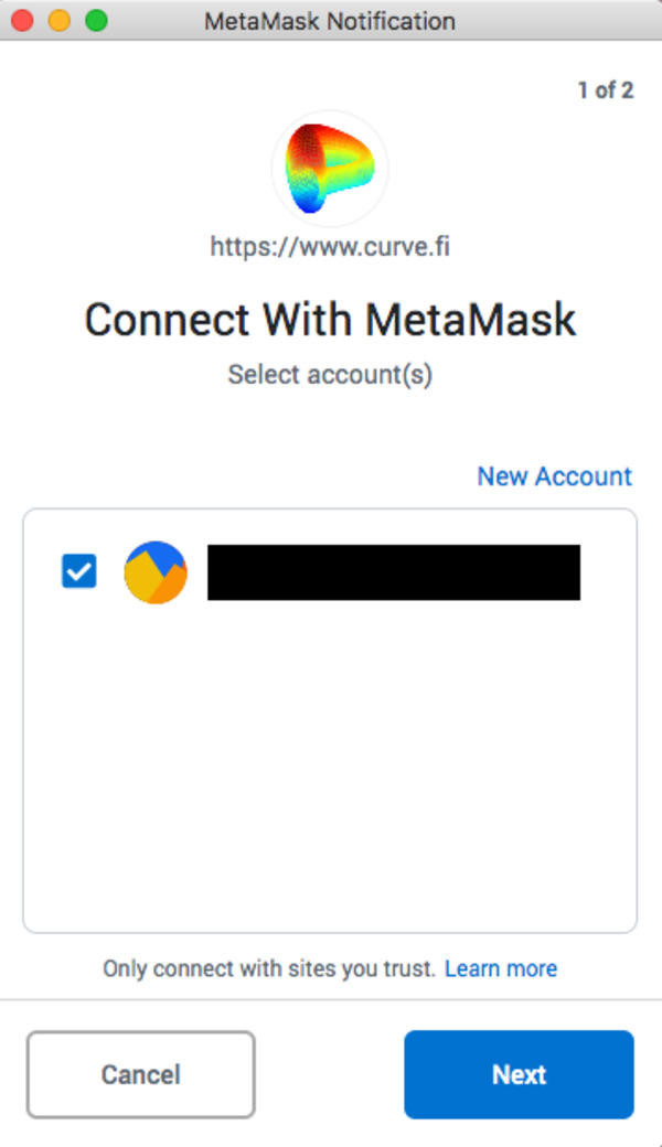 MetaMask notification Connect with MetaMask screen shot.
