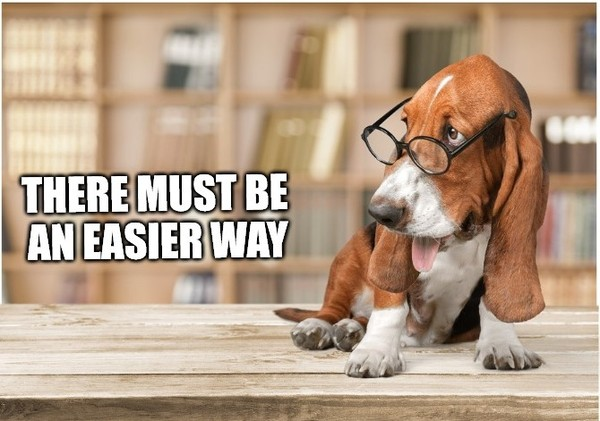 There must be an easier way says a hound with glasses.