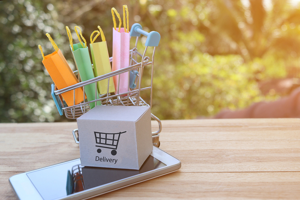 Miniature shopping cart with shopping bags.