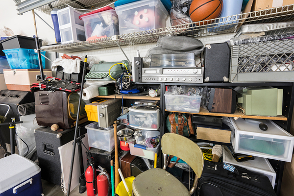 Garage filled with many items.
