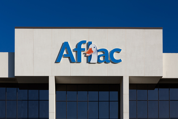 Building with Aflac sign.