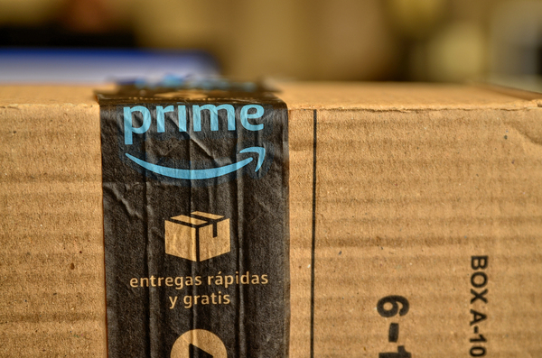 Brown box labeled with Amazon Prime.