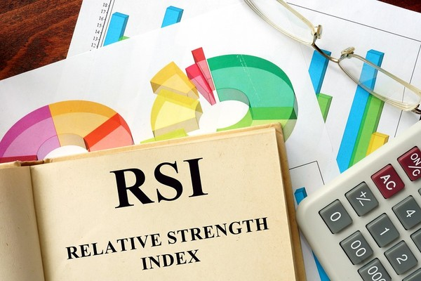 Book labeled RSI relative strength index.