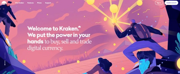 Kraken welcome page with tag line.