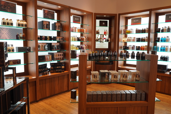 Shop filled with beauty products.