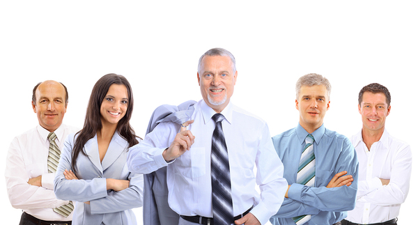 Group of people in business attire standing with arms crossed smiling.