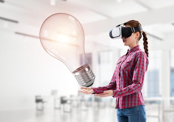Woman wearing a virtual reality headset.