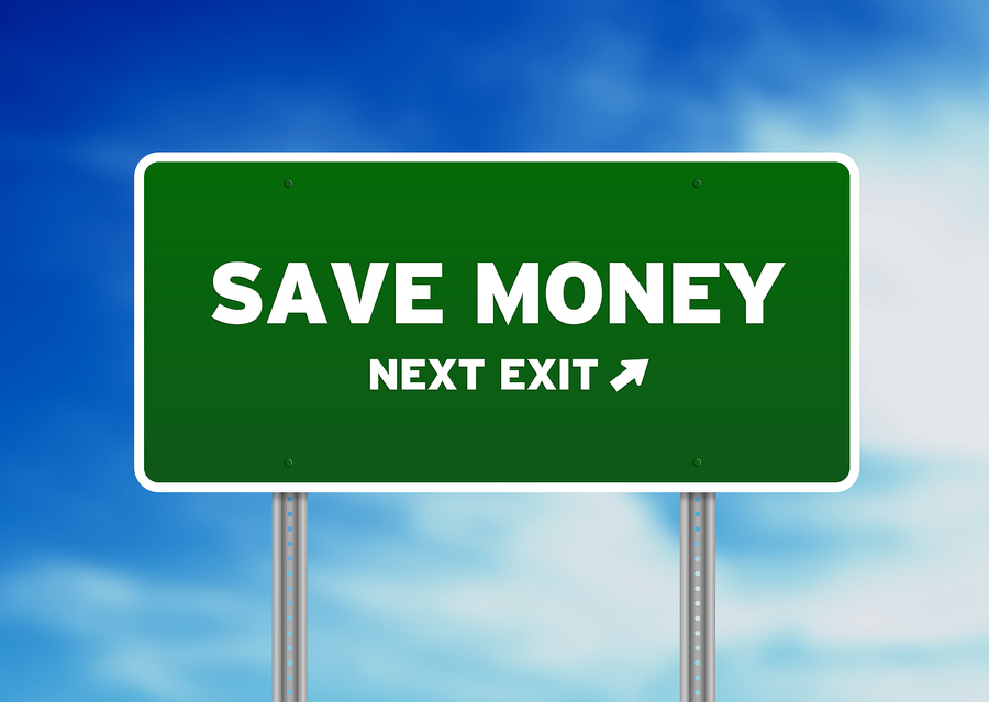 Save money next exit street sign.