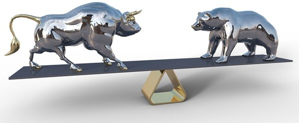 A bull and a bear balancing on a board.